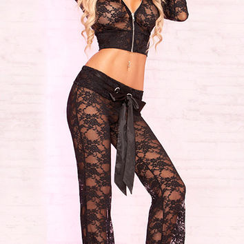 Long Sleeve Hooded Lace Crop Top  And  Bow Wide Leg Pants