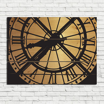 Large Wood Wall Art - Paris Clock on Natural Wood Panels