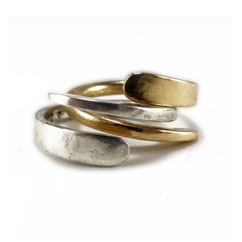 RING in14K Gold and Silver Modern Hammered Forged by GGoriginal