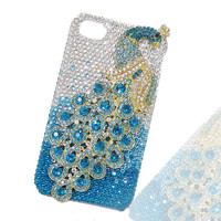 Handmade Bling Peacock Cover, iphone 5 case, Cell phone cover, Blue Swarovski Crystal iPhone Case, Rhinestone Case Accessories-121277231