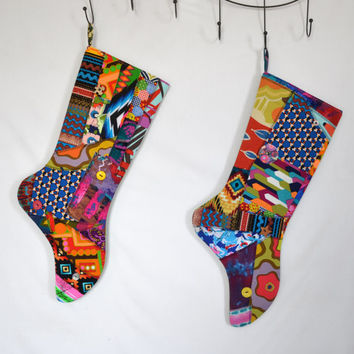 MADE TO ORDER Christmas Stocking, Crazy Quilt, Patchwork, Colorful, Neon, Elf Stocking, Holiday Stocking