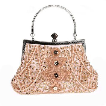 ALIEME Evening Bag Women Gold Metal Women Clutch Bags New Evening Bags Rhinestones Clutch Purse Silver Beading Chain Handbag 49