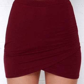 Tulip Locked Burgundy Bodycon Skirt