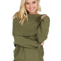 My Way Cable Knit Sweater in Olive | Monday Dress Boutique