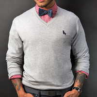 Grey Heather V-Neck Sweater