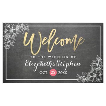 Chalkboard Floral Chic Gold Script Wedding Welcome Banner