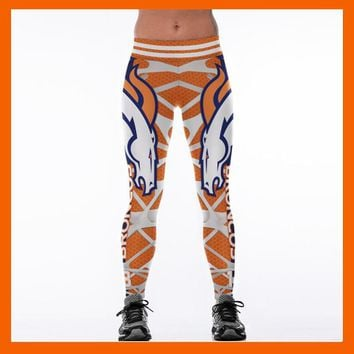 DENVER BRONCO 3D PRINT WOMEN LEGGINGS HIGH WAIST