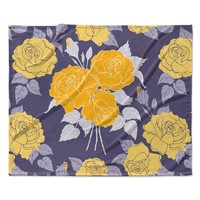 "Anneline Sophia ""Summer Rose Yellow"" Purple Lavender Fleece Throw Blanket"