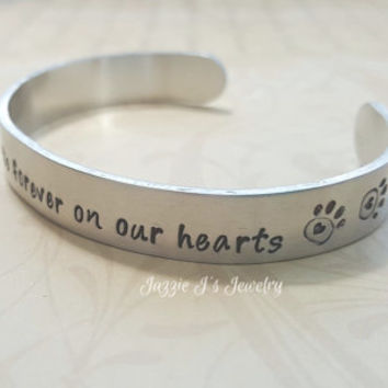 Dogs Leave Paw Prints Forever On Our Hearts Cuff Bracelet, Dog Lover Cuff Bracelet, Gift for Pet Owner-Lover, I Love My Dog Cuff Bracelet