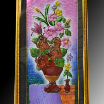 Handmade Colorful Framed Painting in Fiber 3D Wall-Art – Auspicious Home Décor