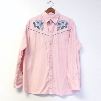 Vintage 1960s 70s Men's Pink Blue Floral Western Wear Cowboy Shirt Snap Button Long Sleeve Size Large Shirt Hipster Folk Square Dancing