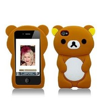 Brown Teddy Bear Soft Silicone Skin Cover Case for Apple iPhone 4 / 4S and Microfiber Bag