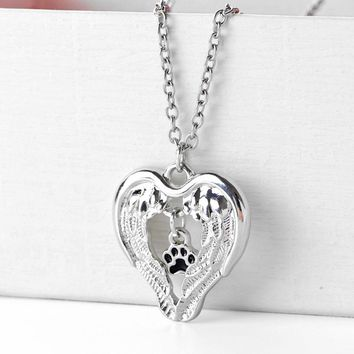 Creative Love Heart Angel Wings Paw Claw Of Dog Kitty Cat Pendant Necklace Jewelry Lovers Best Valentine's Day & Christmas