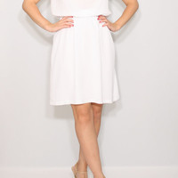 Short white dress Chiffon dress Wedding dress Keyhole dress