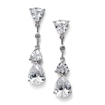 Cubic Zirconia Multi Shaped Dangle Earrings