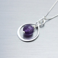 Amethyst necklace February birthday gift sterling silver infinity necklace with real gemstone amethyst February birthstone handmade jewelry