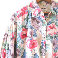 Wms Vintage 90s Pink ROSE FLORAL Flowered Print 'At Last Basics' Drop Shoulder Button Down Shirt Sz L