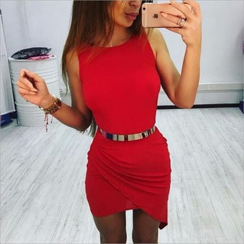Irregular Fashion Sleeveless Bodycon Dress