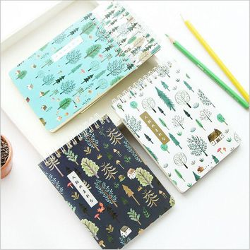 Green Forest Plants Mystery Weekly Planner Daily Schedule Notebook Mini Coil Diary Book Scratch Notepad Memos Escolar Papelaria
