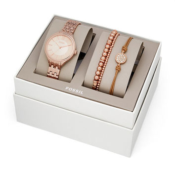 Suitor Three-Hand Rose Gold-Tone Stainless Steel Watch and Jewelry Gift Set - $155.00