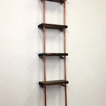 Copper pipe shelves - floating bookshelves - floating shelves - pipe shelf - industrial shelves - copper shelf - wooden wall shelves