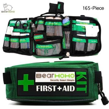 ONETOW BearHoHo Handy First Aid Kit Bag 165-Piece Emergency Medical Rescue Workplace Outdoors Car Luggage School Hiking Survival Kits