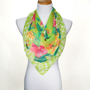 Pink and Green Tropical Silk Scarf, Made In Italy, Tropical Flowers, Hibiscus, Hawaiian