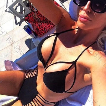Black High-Waist Strappy Bikini