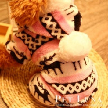 Christmas Fawn Pet Dog Cat Cute Warm clothes Autumn Winter Coat Puppy Costumes Apparel Flannel #sclm [8403195655]