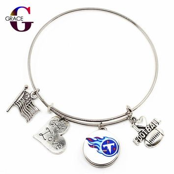 Tennessee Titans Sport Adjustable Expandable Bracelets I Love Football Charms With New Ginger Glass Snap Buttons DIY Jewelry
