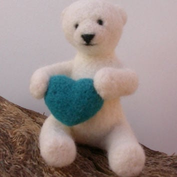 mothers day needle felted Polar Bear felted with blue heart, babys first animal, adorable teddy, Valentines gift, collectors doll