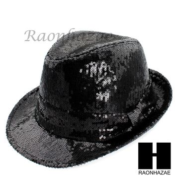 MEN WOMEN SUMMER BEACH PANAMA BLING FEDORA BLING BLING BLACK HAT F006