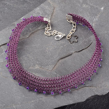 Purple Choker Necklace, Wire Crochet Adjustable Necklace with Miyuki Beads
