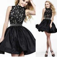 Sexy Women Formal Sleeveless Lace Slim Bodycon Cocktail Party Evening Dress
