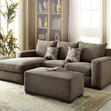 Acme 53590 2 pc ushury collection gray chenille fabric upholstered sectional sofa with chaise