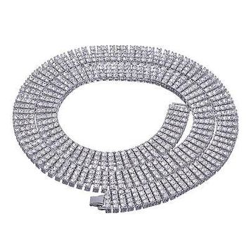 """Jewelry Kay style Men's Fully Iced Out 4 Layer 4 mm Round Stone Silver Tennis Chain Necklace 30"""" S"""