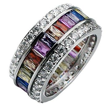 Hermosa Unique Wedding Valentines Day Rings Inlay Morganite Topaz Garnet Amethyst Ruby Aquamarine Silver Ring