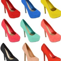 Breckelles Marisa Platform Pumps High heel Shoes New Bright Colors