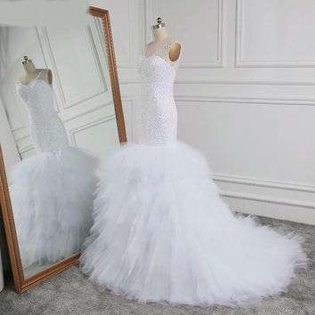 Newest Designed Full Beading Wedding Dresses Luxury Sexy Bride Gown