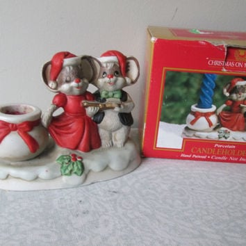 Vintage Christmas Mouse Candle Porcelain Holder