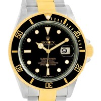 Rolex Submariner Steel Yellow Gold Black Dial Watch 16613 Box Papers