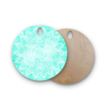 "Nika Martinez ""Boho Flower Mandala in Teal"" Aqua Green Round Wooden Cutting Board"
