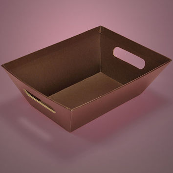 Brown Strong Cardboard Colored Gift Basket Market Trays, 5 pack