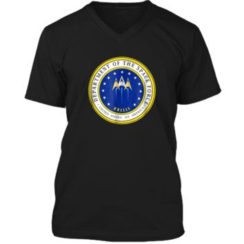 Department of Space Force Funny Political Satire T-Shirt Mens Printed V-Neck T