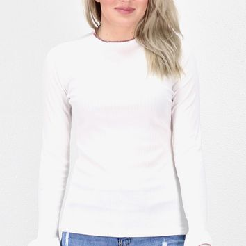 Mock Neck w/ Contrast Ruffle Ribbed L/S {Ivory}