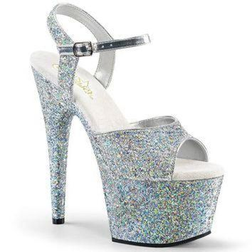 Silver Glitter Platform Ankle Strap Sandal-Stripper Shoes