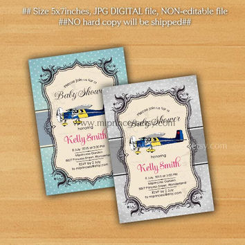retro airplane baby shower baby boy baby girl invitation Retro Rustic invitation vintage or kids birthday 2colors to choose from - card 294