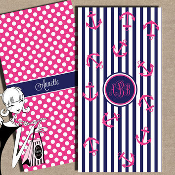 Monogrammed Beach Towel Nautical Pink Anchors on Navy Stripes Personalized Beach Towel Printed Both Sides Bridesmaid Gift