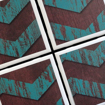 Turquoise Chevron Coaster, Tile Coasters, Coasters, Bark Coaster, Tile Coaster, Distressed Wood, Drink Coaster, Table Coaster, Coaster Set