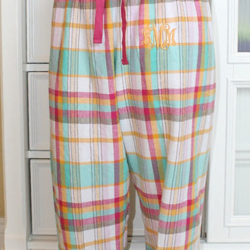 Monogrammed Plaid Flannel Pants Dorm Room Lounge Pants Personalized ChristmasGift Under 30 Dollars